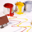 Spilling paint, home painting time! - Stock Photo