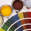 Painting, paint cans, paintbrusches and more! — Foto Stock