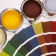 Painting, paint cans, paintbrusches and more! — Stockfoto