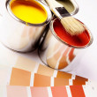 Painting, paint cans, paintbrusches and more! - Stock Photo