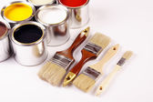 Painting, paint cans, paintbrusches and more! — Stock Photo