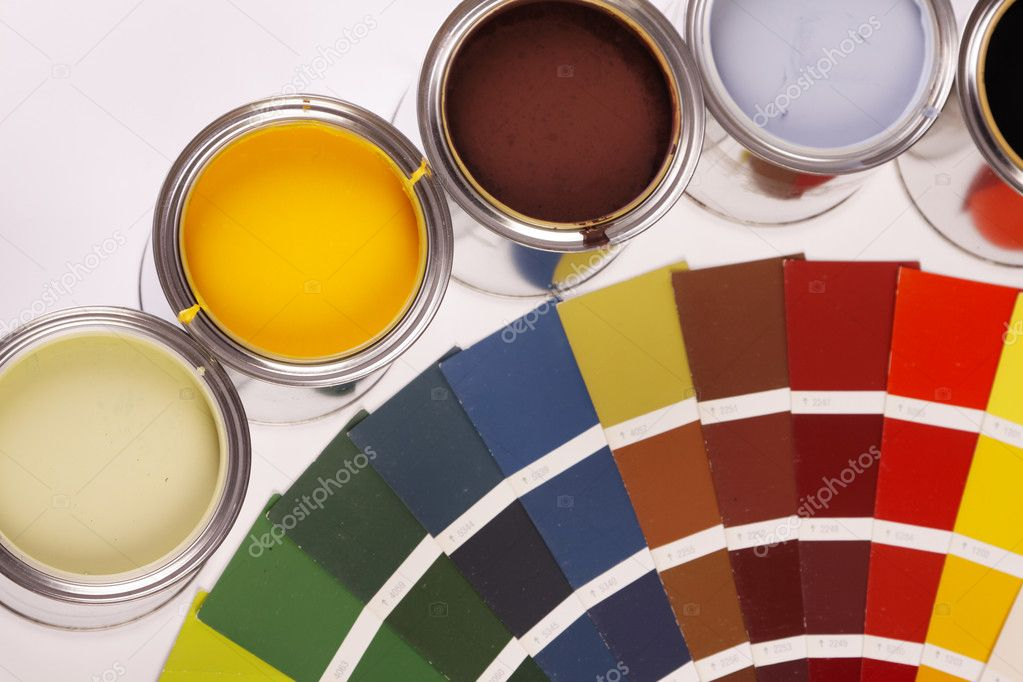 Painting, paint cans, paintbrusches and more! — Stock Photo #4754848
