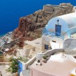 Colorful architecture in Santorini with Aegean sea — Stock Photo