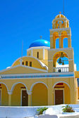 Yellow church in Santorini — Stock Photo