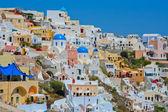 Colourful Oia village panorama — Stock Photo