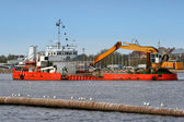 Industrial ship on dredging works — Stock Photo