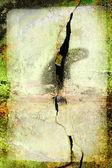 Moldura grunge verde com grande rachadura na parede — Foto Stock