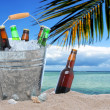 Assorted beer bottles in a bucket of ice in the sand - Stock Photo