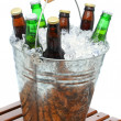 Stock Photo: Beer Bucket on Teak Table