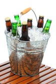 Beer Bucket on Teak Table — Stock Photo