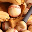 Vintage Baseball Equipment, bat, balls, glove — Stock Photo