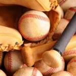Vintage Baseball Equipment, bat, balls, glove — Stock Photo