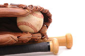 Baseball Glove ball and two bats on white with copyspace — Stock Photo