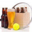 Beer Bottles with Tennis Racket and Ball — Stock Photo #5317166