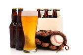 Beer Bottles and Baseball Glove with Ball — Stock Photo