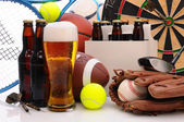 Beer and Sports Equipment — Stock Photo