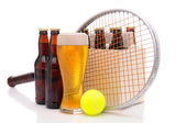 Beer Bottles with Tennis Racket and Ball — Stock Photo