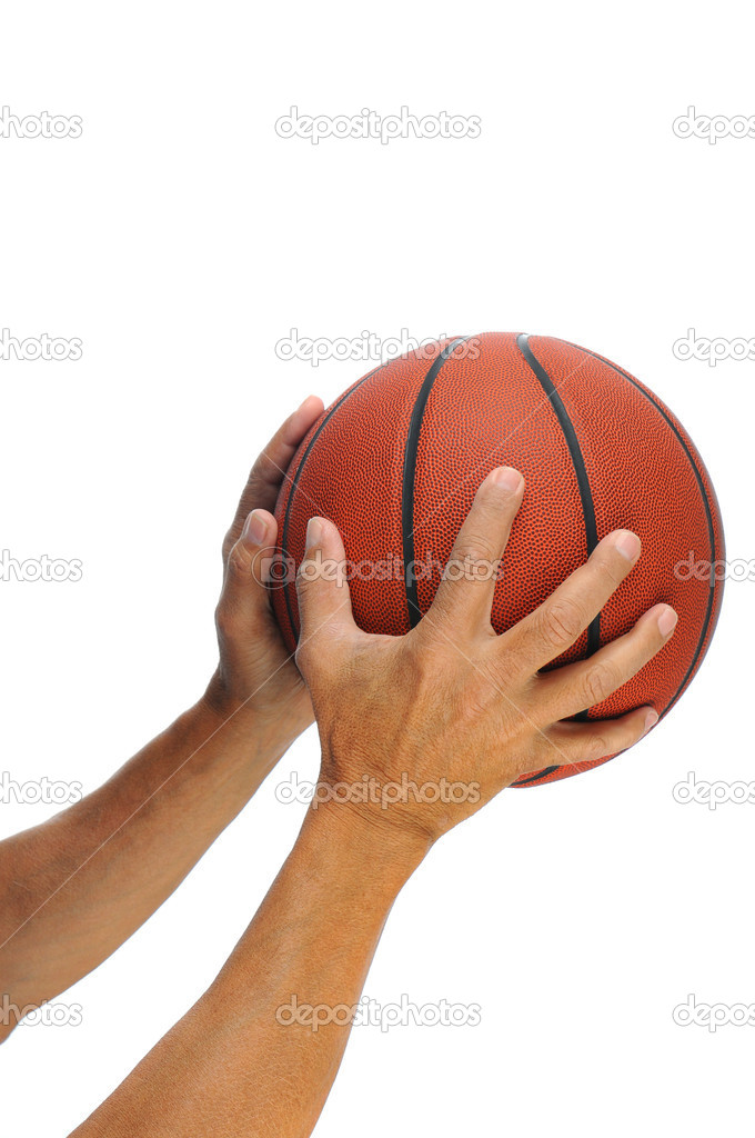 Two hands holding a basketball isolated over a white background. — Stock Photo #5358796