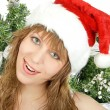 Happy pretty santa woman — Stock Photo