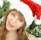 Happy pretty santa woman — Stock Photo