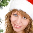 Stock Photo: Happy pretty santa woman