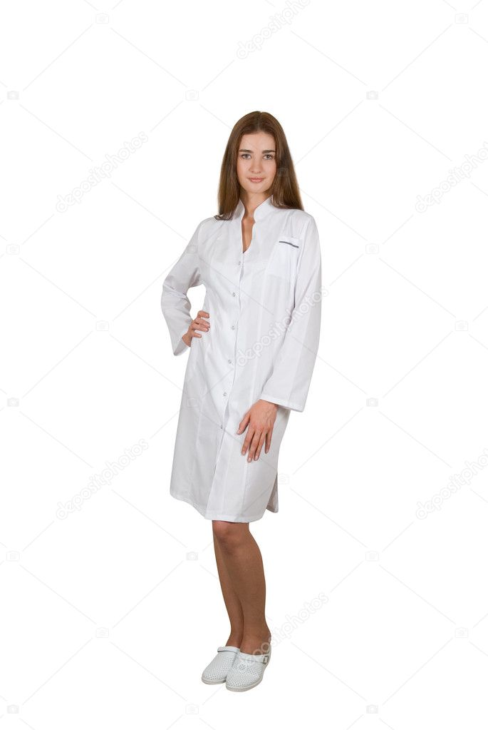 Young female doctor or nurse isolated on white  Stock Photo #4401036