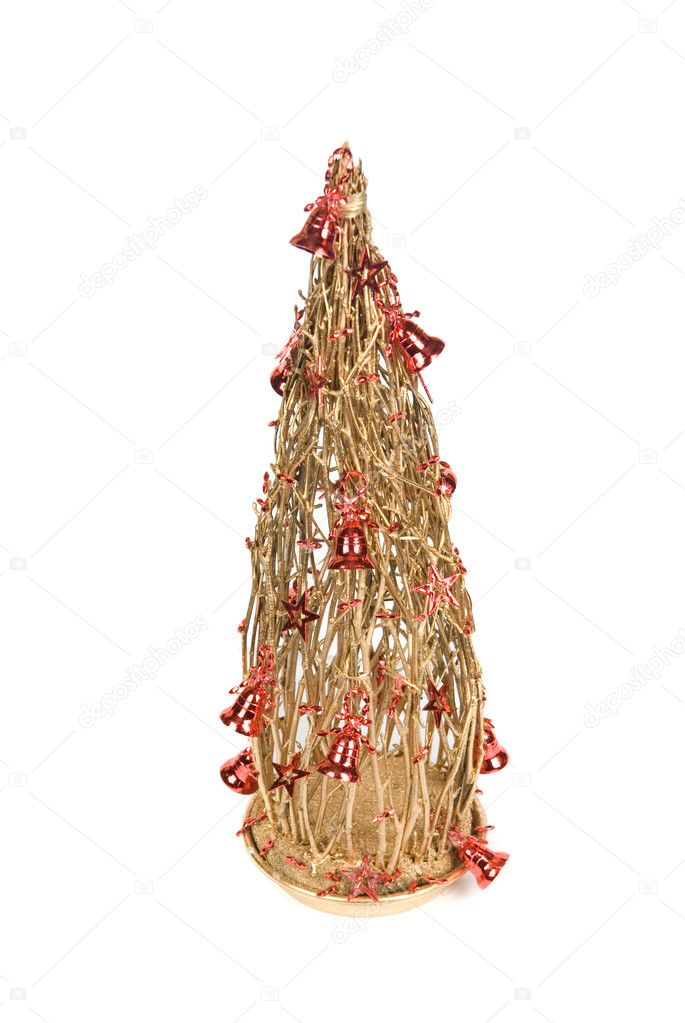 Christmas decoration fir tree on a white background — Photo #4586549