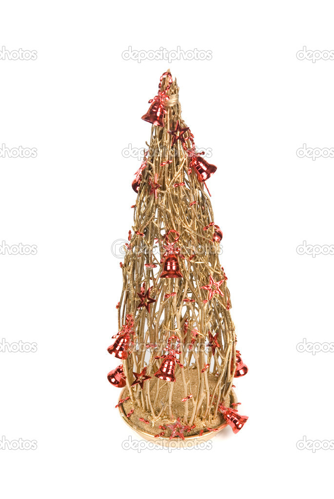 Christmas decoration fir tree on a white background  Stock Photo #4586549
