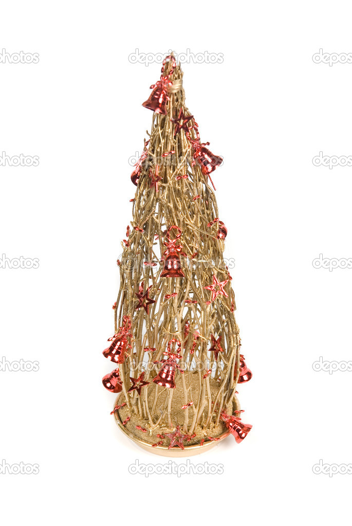 Christmas decoration fir tree on a white background — Stock Photo #4586621