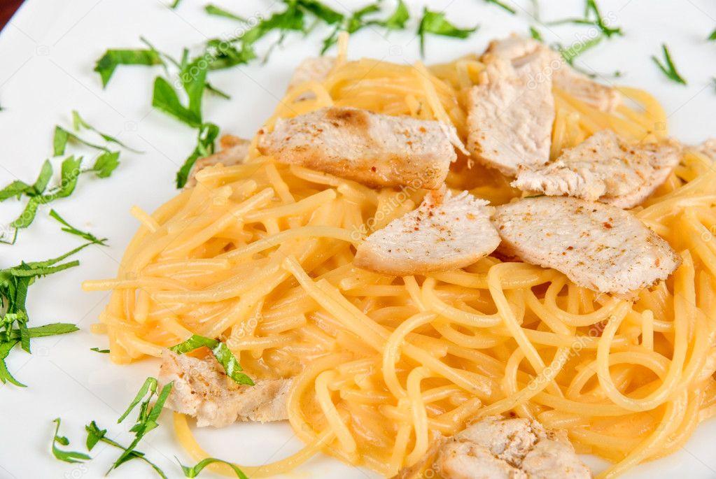 Макароны с мясом курицы рецепты