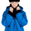 Girl at blue quilted coat — Stock Photo