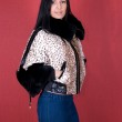 Girl at leopard jacket — Stock Photo #4811505