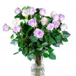Bouquet pink roses in vase - Stock Photo