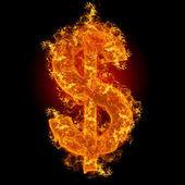 Fire dollar sign — Stock Photo