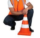 Road worker closeup — Stock Photo