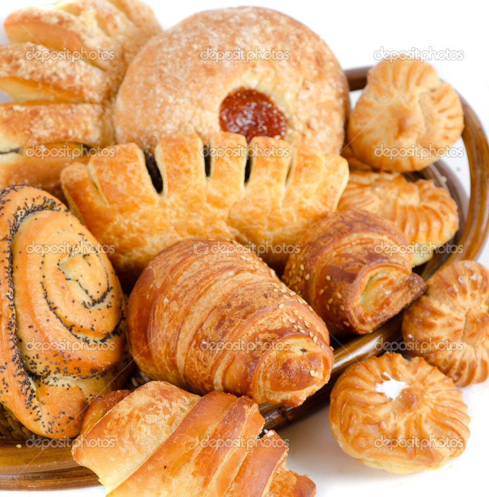 Bakery foodstuffs set on a white background — Stock Photo #5060686