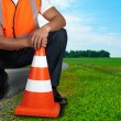 Road worker closeup — Stock Photo