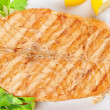 Grilled salmon steak — Stock Photo #5354764