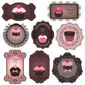 Etichette cupcake — Vettoriale Stock