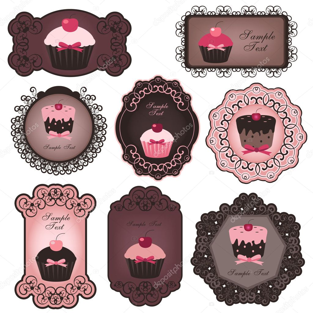 Vector illustration of cute cupcake labels  — Vektorgrafik #4110301