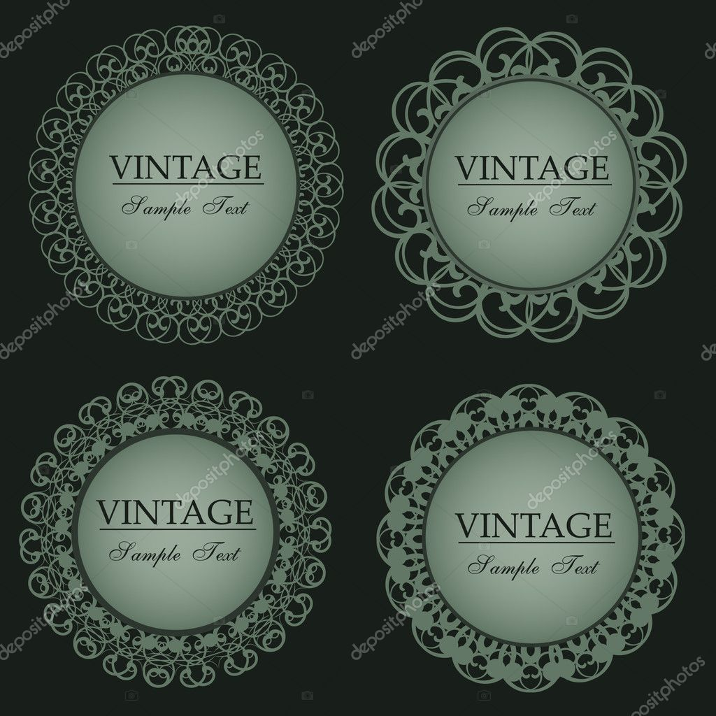 Vector illustration of vintage lace frames   - set  Stock Vector #4491480
