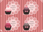 Valentine labels with cupcakes — Stock vektor