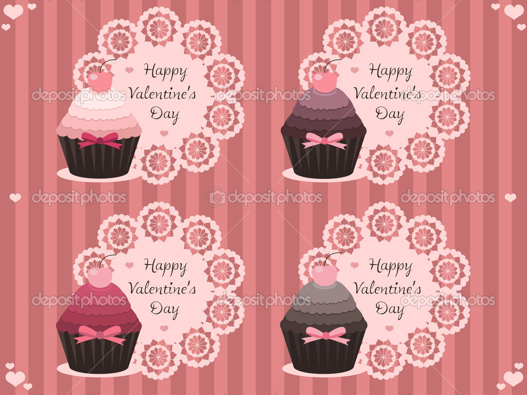 Vector illustration of sweet valentine labels with cupcakes — Vettoriali Stock  #4598593