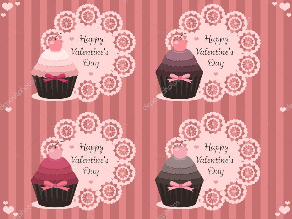 Vector illustration of sweet valentine labels with cupcakes — Векторная иллюстрация #4598593