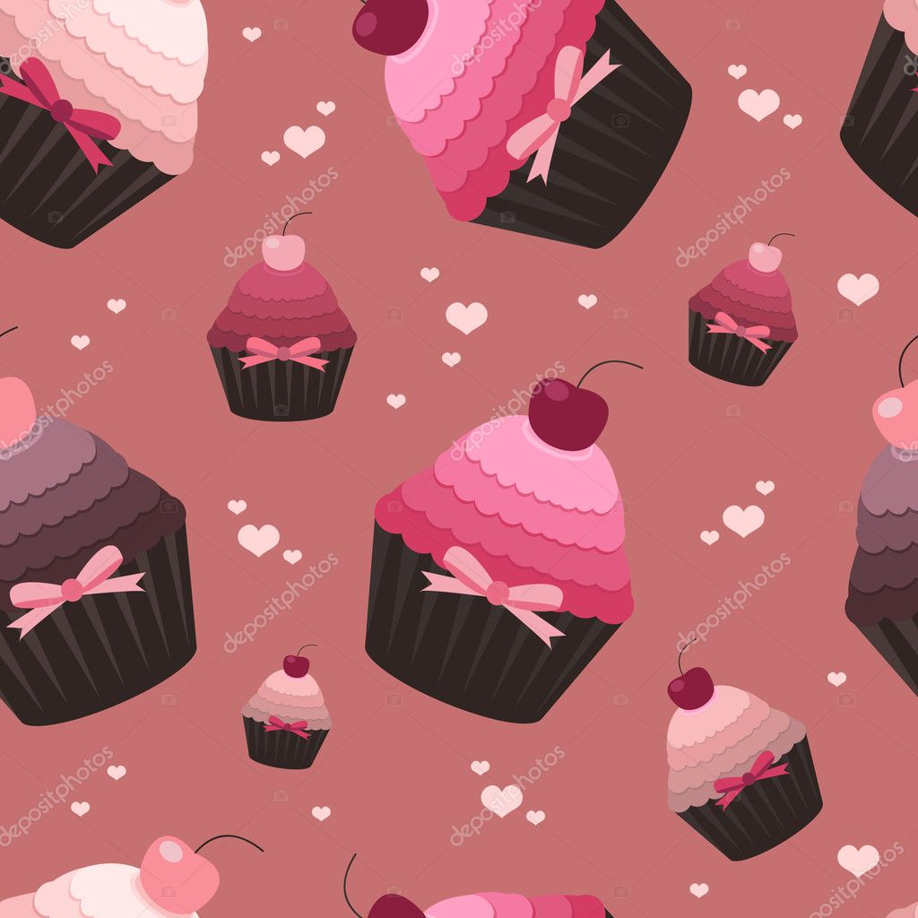 Vector illustration of cute seamless valentine pattern with cupcakes   Stock Vector #4689077