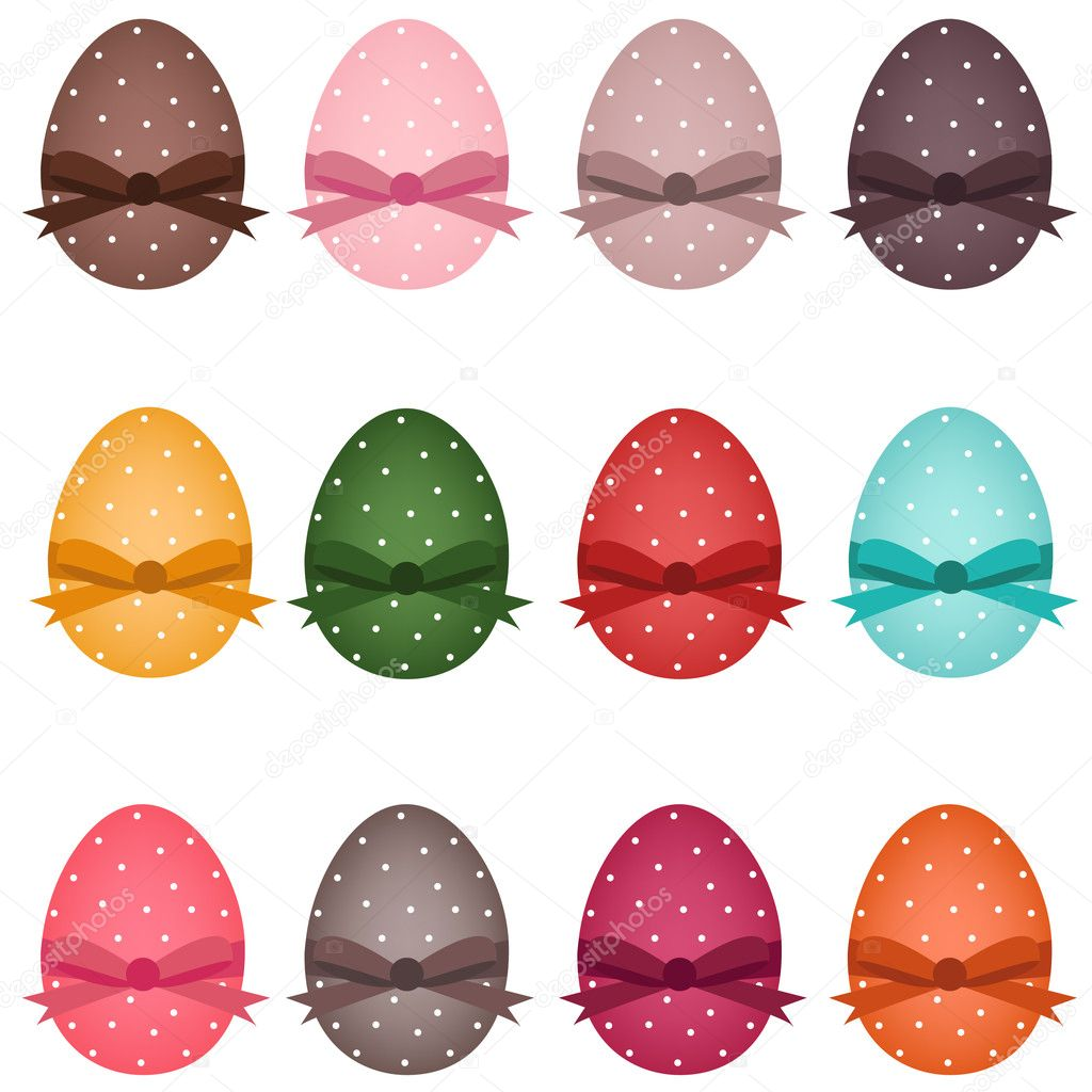 Set of colorful dotted easter eggs — Stock Vector #4987078