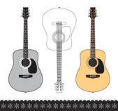 Guitarra acústica — Vector de stock