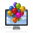 Multi colored balloons in a 3D tv screen — Stock Photo