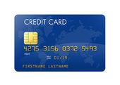 世界地図の青いクレジット カード — ストック写真