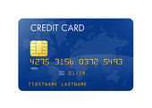 Blue credit card with world map — Stock Photo